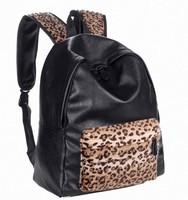 leopard print Design backpack PU packsack Retro schoolbag with jeruk