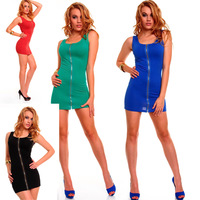 M XXL Plus Size 5 Colors Freeshipping 2013 New Fashion Women Sexy Zipper Front Clubwear Party Tank Dress Summer Casual Dress4111