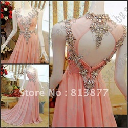 Free shipping Sexy Cap Sleeves Evening dress Crystals pink Evening Party Gowns Prom Dresses New 2013(China (Mainland))
