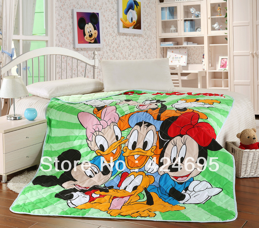 Home Textile,Mickey Family children cartoon pattern summer air patchwork quilts,the blanket ,Throw,150*200CM,Free shipping(China (Mainland))