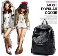 Punk Retro backpack PU black schoolbag with jeruk packsack