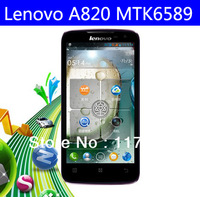 In stock original Lenovo A820 mtk6589 quad core mobile phone android4.1os 1.2GHz 1gb ram 4gb rom 8.0mp multiple languages