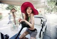 free shipping Lady fashion hat foldable summer sun hat hat sunscreen beach hat costume
