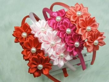 Wholesale Triple Saitn Ribbon flower with pearl on Plastic hairband headband Newborn headband Girls hair accessories 120pcs/lot