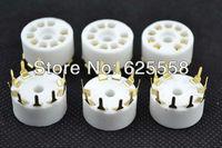 10pcs gold plated 9pin plastic PCB mount tube socket for 12AX7,6DJ8,EL84 vacuum tube amplifier