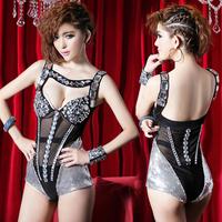 Ds costume paillette one piece sexy female fashion dance clothes  club dresses