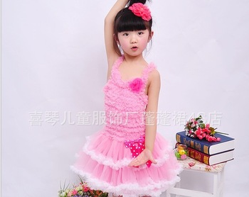 2013 Newest Design Branded Baby Girl beautiful flower elegant  cute dress kids Birthday tutu dresses Pink High Quality