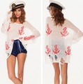 2013 Wildfox Sweater Women Pullover Hole Design Sailor Loose Knitwear Outwear Long Sleeve Pullovers Blouse