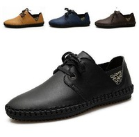 Hot selling!!!Free shipping Men's handmade genuine leather shoes men's business casual shoes breathable