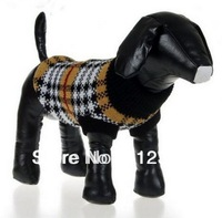 Pet Dog Cat Clothes Warm Winter Black white plaid Knitted Jumper Sweater Clothes XS-XL Free Shipping new