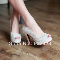 Free Shipping 2013 woman's open toe ultra high heels sandals lace wedding shoes platform thick heel female sandals sandals shoes