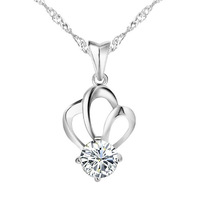 Keep Colour Jewelry Wholesale,Silver plated platinum plated pendant necklace, princess stone pendant necklace. GPN001