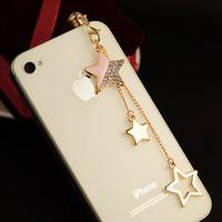 Italina Oil tassel five-pointed star dust plug long chain sparkling diamond tassel  for iphone   earphones plug