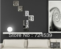 3d free shipping Diy simple geometry wall stick crystal three-dimensional mirror wall stick home decoration mirror