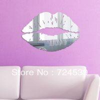 Kiss DIY 3D home decoration crystal wall stickers decoration mirror wall stickers,WALL PAPER  FREE SHIPPING!