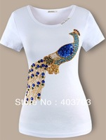 Top quality Embroidery Peacock Hammer bead Set auger Sequined women's short sleeve cotton t-shirt Free shipping t shirt