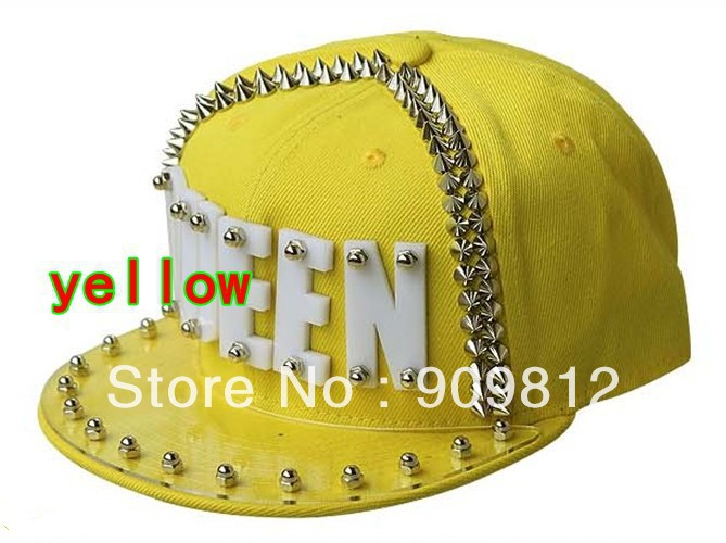 Free Shipping 2013 Punk Style, QUEEN letter flat brimmed hat, Plastic sheet rivets hip-hop cap, Snapback caps 20pcs/lot(China (Mainland))