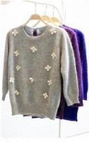 Exquisite handmade 2013 three-dimensional small daisy three quarter sleeve short sweater design 4