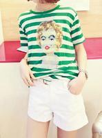 2013 summer all-match monroe cartoon pattern print loose short-sleeve horizontal stripe t-shirt blousier