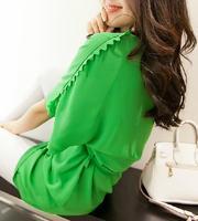 2013 female elegant slim solid color half sleeve lacing chiffon basic skirt one-piece dress
