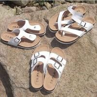 Cork babouche birkenstock sandals flip-flops authentic white men and women lovers shoes baken summer sandals