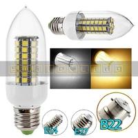 2X B22 7.5W 900-Lumen 63 SMD 5050 LED White/ Warm White High Power Light Candle Bulb AC 220V Free Shipping