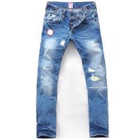 Bakham products prps autumn light color fashion genuine leather the patch hole men's slim straight jeans 226