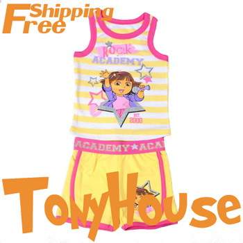 Toddler Girls 2013 Summer Sports Clothes Suit Cartoon DORA 2pc Sets Casual Clothing Free Shipping