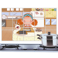 Free shipping Kitchen high-temperature oil with aluminum foil stickers - petal - curl anime girl
