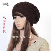 fashion unisex solid color knitted wool beanies hat for women men free shipping 5 colours    coffee colour  m1174-2