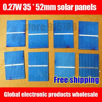 Free shipping Solar cells / 0.27W 35 * 52mm solar panels / solar module / solar cells for solar DIY