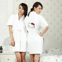 Spring and summer 100% cotton terry towel fabric women's robe summer soft cute towel bathrobes