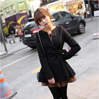2013 gentlewomen slim waist wool overcoat camel woolen skirt outerwear female