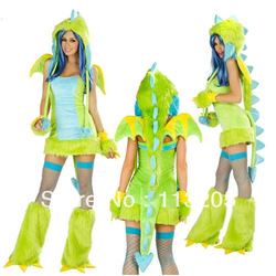 Green Dinosaur With Wings Anime Halloween Cosplay Costume Animal Apparel Uniforms For Women Sexy Adult Clothing(China (Mainland))