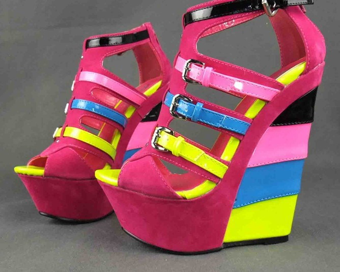 2013 explosive candy colour stitching suede wedges super fluorescent paint ferret with sandal 35 to 41(China (Mainland))
