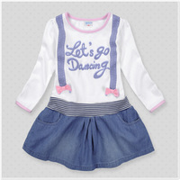 Children's clothing female children summer casual 100% cotton top denim skirt long-sleeve dress