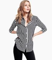 Black and white striped satin chiffon blouse for women long sleeve shirt slim fit boyfriend female 2013 free drop shipping