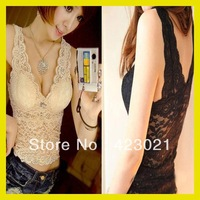 2015 Free shipping Wholesale Sexy Women's V-neck Vest Lace Tank Top Camisole Sleeveless T-shirt 2 Colors