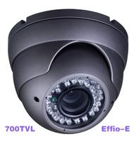 Freeshipping+ Effio-e Super HAD II Sony CCD 700TVL Vandalproof IR CCTV Dome Camera with 4-9mm Lens 36pcs IR LED Lights