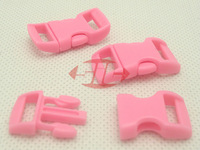 "(100pcs, PINK) 3/8"" 10mm Webbing Side Release Plastic Contoured/ Curved Buckles for 550 Paracord Bracelets Bag Pet Parts"