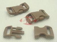 "(100pcs, TAN) 3/8"" 10mm Webbing Side Release Plastic Contoured/ Curved Buckles for 550 Paracord Bracelets Bag Pet Parts"