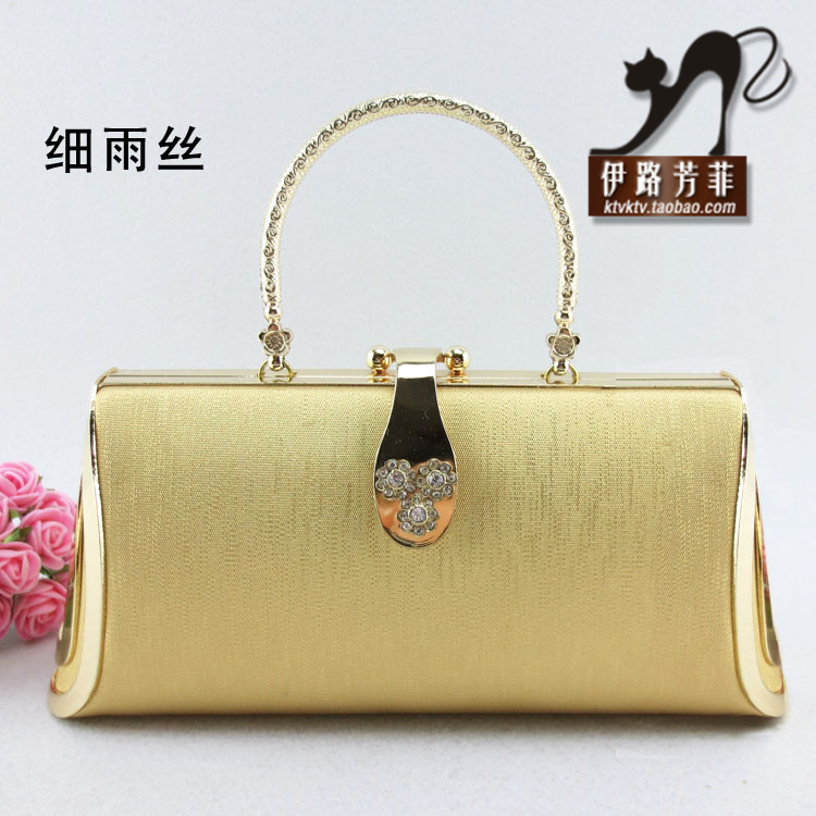 Free shipping designer evening Gold mini handbag bridal bag metal hard case ktv princess packet welcome uniform(China (Mainland))