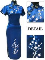 Navyblue Fashion Chinese tradition  Qipao Long  Dress  Wedding Party Evening dress Cheongsam Size S M L XL XXL XXXL