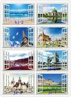 Arbitrary 10pc  HD Pattern Landscape window sticker 70*46cm sofa background pvc art mural home decor wall  sticker