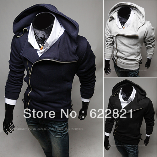 free shipping 2013 Explosion models Korean men's hooded sweater coat fashion cardigan Slim oblique zipper sweater(China (Mainland))