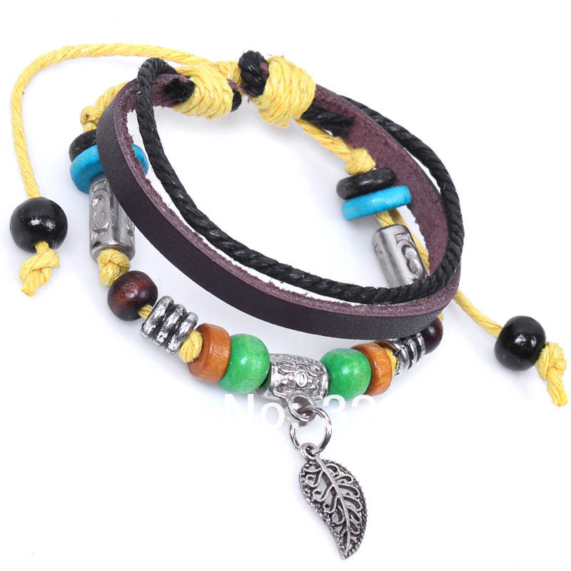2013 New Hot Sales Punk Bead Bracelet For Women,3 Layer Bead Bracelet For Men,Vintage Jewelry Leaf Pendant Bracele One Direction(China (Mainland))