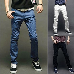 2013 spring and summer men&#39;s cotton solid wild Slim straight casual pants trousers a generation of fat(China (Mainland))