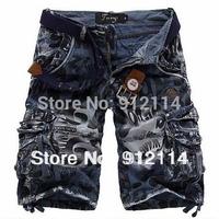 2014 new fashion summer  loose washed shorts men military uniform shorts men Multi-pocket beach cargo shorts for men,size 28-36.