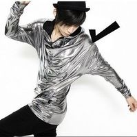 Reflective long sleeve shiny type hip-hop fashion t-shirt