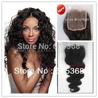 Body Wave natural color Brazilian Virgin Hair Top Closure free shipping